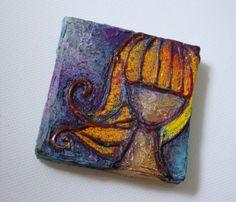 She dreams in color, teeny tiny art piece!