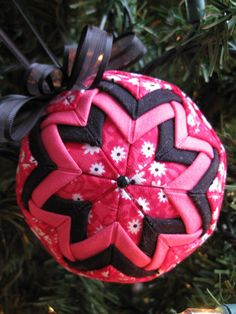 Quilted Ornament  Pink and Black
