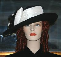 Edwardian Hat Downton Abbey Hat Church Hat ~ Lady Olivia ~ Black & White Hat