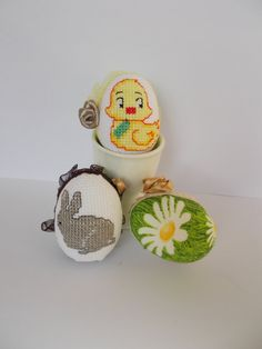 Set of three eggs. Handmade embroidered. Great gift for by cvet99