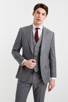 Buy Moss 1851 Tailored Fit Grey With Blue Windowpane Jacket from the Next UK online shop Charcoal Suit, Dark Gray Suit, Black Suits, Mens 3 Piece Suits, Three Piece Suit, Grey 3 Piece Suit, Windowpane Suit, Moss Bros, Crisp White Shirt