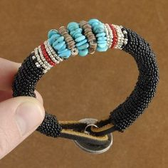 Native American Genuine Turquoise Nugget Beaded Bracelet - Turquoise Bracelet - Native American Beadwork - Alltribes.com