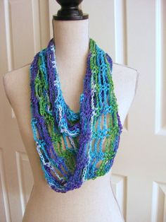 Crochet Lacy Cowl Scarf Spring Green Turquoise by RoseJasmine