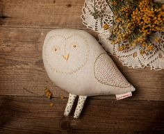 Owl. Designer hand-embroidered toy Stuffed animal by slastidolls