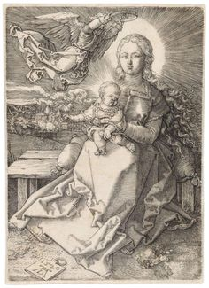 Albrecht Dürer - Madonna Crowned By One Angel.Original engraving printed in black ink on laid paper.