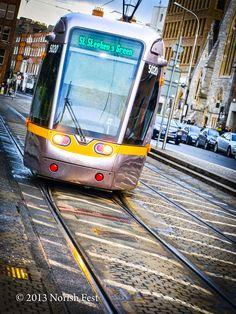 Luas arriving St Stephen's Green #Dublin #Ireland Dublin Ireland, Ireland Travel, Irish Landscape, Saint Stephen, Coaches, Buses, Saints, Landscapes, Train