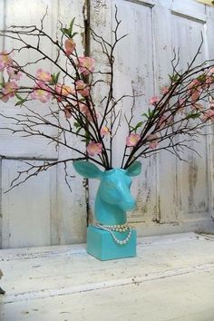 Table top mounted deer head robins egg blue by AnitaSperoDesign, $170.00