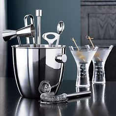 Bar Tool and Ice Bucket Set in Bar Accessories | Crate and Barrel