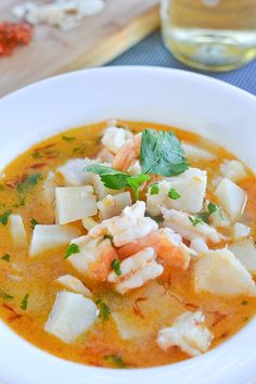 This Catalan style fish soup recipe has fish, shrimps and chunks of potatoes. It is a delicious and filling soup.