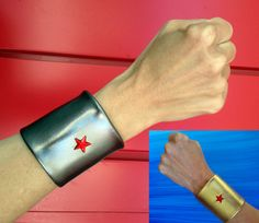 Pair of Wonder Woman Cuffs. Two colors by SavillaCreations on Etsy, $25.00