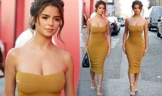 Today Images, Gold Strappy Heels, Demi Rose, Mustard Dressing, Dress Images, Dress Picture, Skin Tight, Hourglass, London Fashion