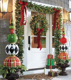 Christmas Scenes - Holiday Scene - Christmas Front Door - Decorations