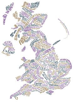 Map of Literary Britain and Northern Ireland    Description: Literary Britain as you've never seen it before! This original hand-lettered poster features 188 writers and is exclusive to The Literary Gift Company.