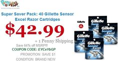 Super Saver Pack: 40 Gillette Sensor Excel Razor Cartridges Model    GSE40 Save    64% https://www.pennywise.biz/ Offer for today only..!!