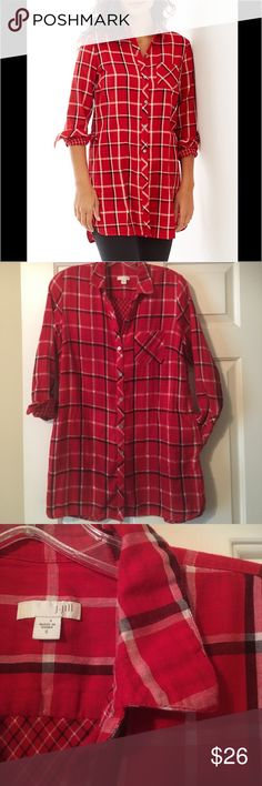J Jill PLAID DOUBLE-CLOTH LONG TUNIC Like new. Super cute long tunic with pockets. No trades, offers welcome. J. Jill Tops
