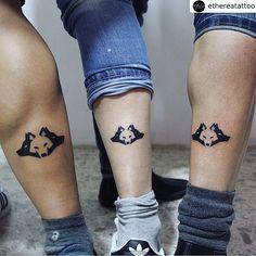 Geometric wolf tattoo | friends friendship tattoos | by Etherea tattoo 3 Friend Tattoos, Sister Tattoos, Tattoos For Guys, Friendship Tattoos For 3, Tattoo Amigas, Tattoo Drawings, I Tattoo, Geometric Wolf Tattoo, Wolf Tattoos