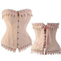 Sexy-Bustier-Corset-Burlesque-Basque-lingerie-Bustier-amp-Lace-Trim-9-Sizes-HG