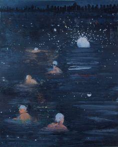 "Swim To The City, Katherine Bradford, oil on canvas, 20"" x 16"", 2009"