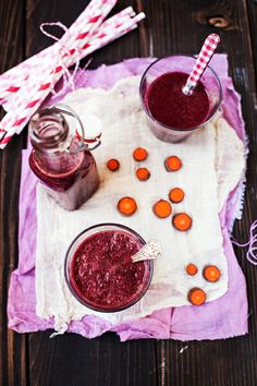 Rhubarb, carrots and beet juice