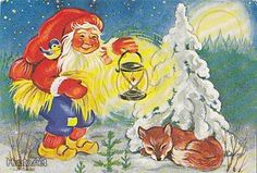 Kristina, Christmas card 10 x Finland David The Gnome, Parts Of The Earth, Elves And Fairies, Legendary Creature, Old Cartoons, Magical Christmas, Forest Animals, Red Hats, I Fall In Love