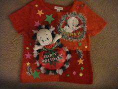 Deb's Casper the Friendly Ghost Woman's ugly Christmas Sweater XL orange pink #JudithHart #shortsleeved