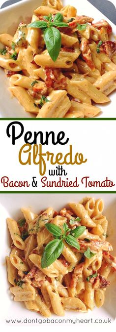 A delicious twist on the classic Alfredo. Penne Alfredo with Bacon and Sundried … A delicious twist on the classic Alfredo. Penne Alfredo with Bacon and Sundried Tomato will change your 'go to' quick dinner forever. Recipes with Bacon Think Food, I Love Food, Good Food, Yummy Food, Tasty, Penne Alfredo, Alfredo Chicken Pasta, Chicken Noodles, Pasta Noodles