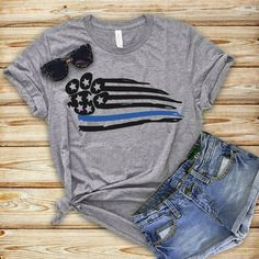 Blue Line T-Shirt tshirtclothing Dog Mom Shirt, Thin Blue Lines, Direct To Garment Printer, A Boutique, Shirt Style, Shirt Designs, Vinyl Designs, Trending Outfits, My Style