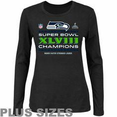 Seattle Seahawks Super Bowl XLVIII Champions Ladies Trophy Collection Locker Room Plus Size Long Sleeve T-Shirt - Black