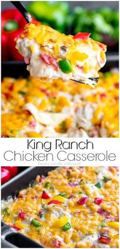 This creamy, cheesy, King Ranch Chicken Casserole is an easy dinner recipe for busy weeknights. Layers of flour tortillas, chicken, and a creamy sauce make King Ranch Chicken a family favorite! King Ranch Chicken Casserole, Creamy Chicken Casserole, Easy Casserole Recipes, Easy Dinner Recipes, Easy Meals, Dinner Ideas, Casserole Pan, Mexican Casserole, Hamburger Casserole
