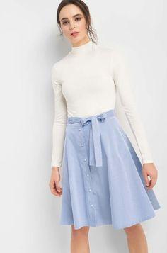 Proužkovaná áčková sukně - Modrá Waist Skirt, High Waisted Skirt, Elegant, Skirts, Stuff To Buy, Shopping, Summer, Design, Fashion