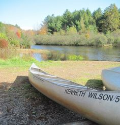 Canoe on the shore at Kenneth L Wilson Campground - NYSDEC Campgrounds