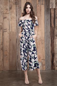 0c51cfa9e2b navy flower print jumpsuit with back cut out -open back -off shoulder Self   100 % Polyester