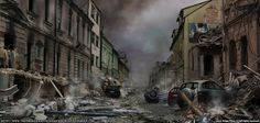 badly damaged street. my photo some textures and alot of painting