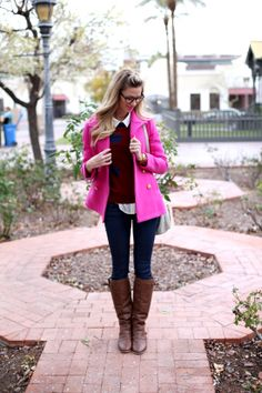Coat, Sweater (loving this one on sale): JCrew; Blouse (similar): Forever21; Pants: JBrand; Boots: c/o Windsor Store; Lipstick: MAC Candy Yum Yum