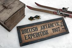 Vintage wooden sign ' British Antarctic Expedition 1907 ' on Etsy, $137.04