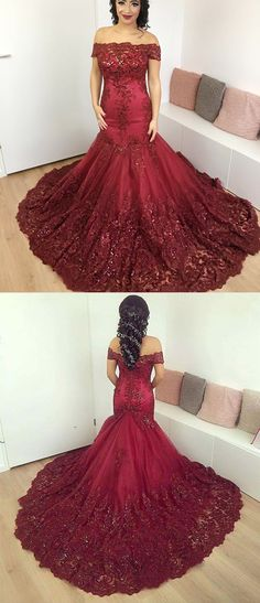 Burgundy Lace off-the-shoulder Evening Dresses Mermaid Prom Gowns 2018