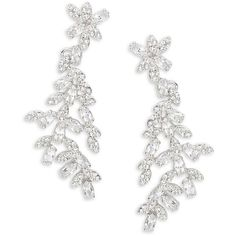 Kate Spade New York Crystal Ivy Statement Earrings (865 CNY) ❤ liked on Polyvore featuring jewelry, earrings, accessories, brinco, silver, earring jewelry, crystal jewelry, kate spade jewelry, ivy jewelry and statement earrings