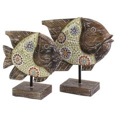A whimsical addition to your console table or mantel decor, this set of 2 handmade albasia wood fish statues showcases glass mosaic sides.    ...