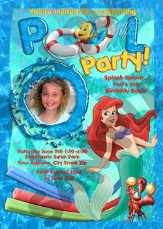 Little Mermaid Pool Party Invitation Ariel birthday Beach