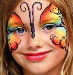 Simple face painting designs are not hard. Many people think that in order to have a great face painting creation, they have to use complex designs, rather then Girl Face Painting, Face Painting Designs, Painting For Kids, Body Painting, Butterfly Face Paint, Rainbow Butterfly, Mariposa Butterfly, Butterfly Mask, Butterfly Costume