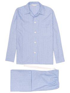 Men's Classic Fit Pyjamas Arran 24 Brushed Cotton Blue