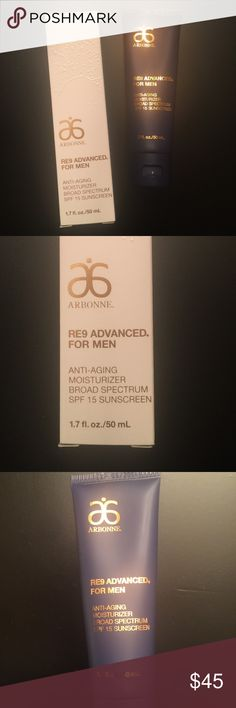 """New"" Men Facial Moisturizer Anti-Aging Moisturizer that serves and protects. It's refreshing, lightweight, improves the appearance of lines and wrinkles.  Protects against UVB/UVA Ray's with broad spectrum. Arbonne Other"