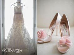 Romantic white wedding dress and pink shoes. WedLuxe Magazine