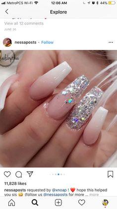 Acrylic Nail Art For More Beautiful Nails Fabulous Nails, Gorgeous Nails, Love Nails, Pretty Nails, Fun Nails, Prom Nails, Bling Nails, Glitter Nails, Stiletto Nails