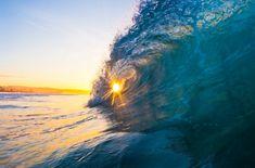 The sun inside a wave, Newport Beach, California. #Newport #beach #wave #ocean #sunset
