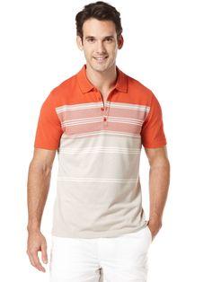 Perry Ellis coral stripe knit polo