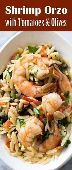 Quick and EASY Shrimp Pasta dinner with black olives, fresh tomatoes, arugula, and orzo pasta! (Shrimp Recipes With Rice) Orzo Recipes, Fish Recipes, Seafood Recipes, Dinner Recipes, Cooking Recipes, Healthy Recipes, Recipes With Orzo Rice, Noodle Recipes, Recipes With Black Olives