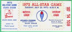 1972 MLB All Star Game Aaron HR ticket stub 50