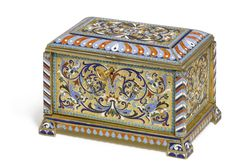 A Russian Silver-Gilt and Cloisonné Enamel Jewel Casket, Ivan Krutikov, Moscow, circa 1895, rectangular with projecting corners, the hinged lid decorated with brightly coloured foliage on a stippled ground bordered with white-dotted periwinkle blue and terracotta lobes, the sides with Usolsk-style scrolling foliage.
