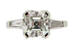 Art deco Asscher cut diamond ring, circa 1930 from Berganza London Hatton Garden